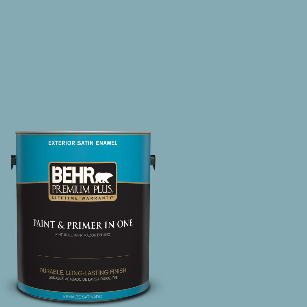 BEHR Premium Plus 1-gal. #S450-4 Crashing Waves Satin Enamel Exterior Paint