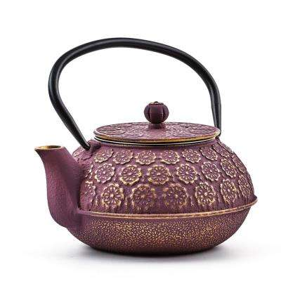 "2.75-Cups Purple/Gold 22 oz. Cast Iron ""Cherry Blossom"" Teapot"