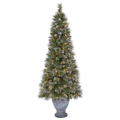 6.5 ft. Pre-Lit Sparkling Pine Artificial Christmas Potted Tree with Clear Lights