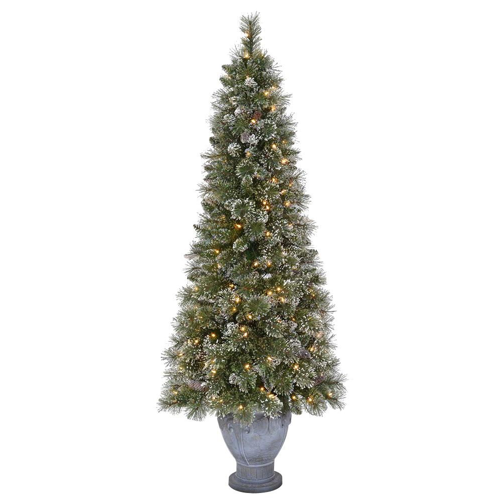 pre lit sparkling pine potted artificial christmas tree with