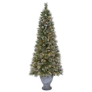 martha stewart living 65 ft pre lit sparkling pine potted artificial christmas tree with 490 tips and 200 clear lights tv66m3acdc02 the home depot - How To Put Ribbon On A Christmas Tree Martha Stewart