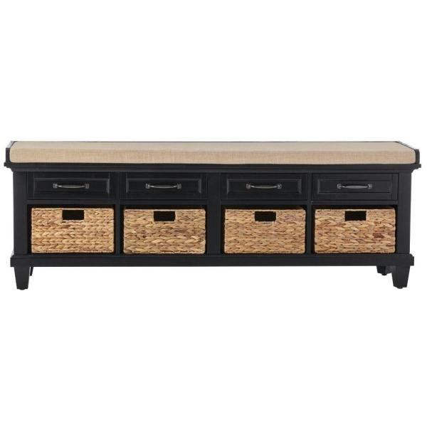Home Decorators Collection Martin Black 4 Basket Shoe Storage Bench BF-25510BL