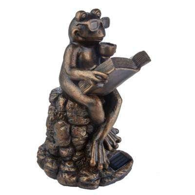 12.4 in. H Reading Tea Frog Solar Statue