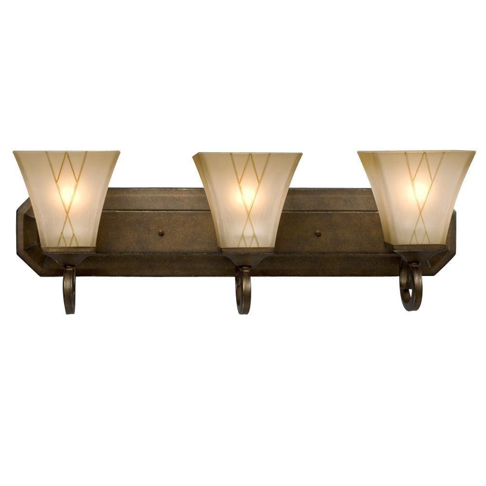 Austin Allen & Co. 3-Light Brushed Gold Bath Vanity Light-9A168A - The Home Depot