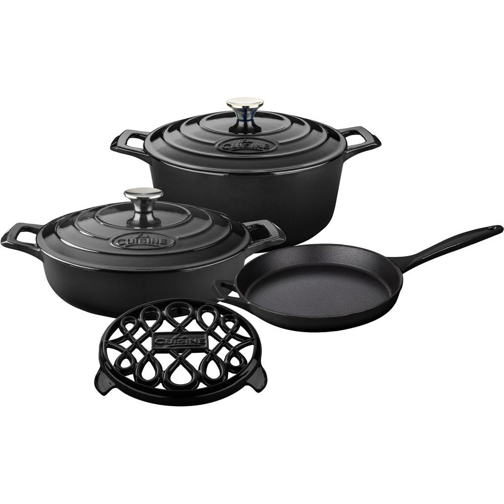 La Cuisine 6-Piece Enameled Cast Iron Cookware Set with S...