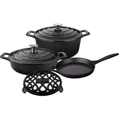 6-Piece Enameled Cast Iron Cookware Set with Saute, Skillet and Round Casserole with Trivet in Black