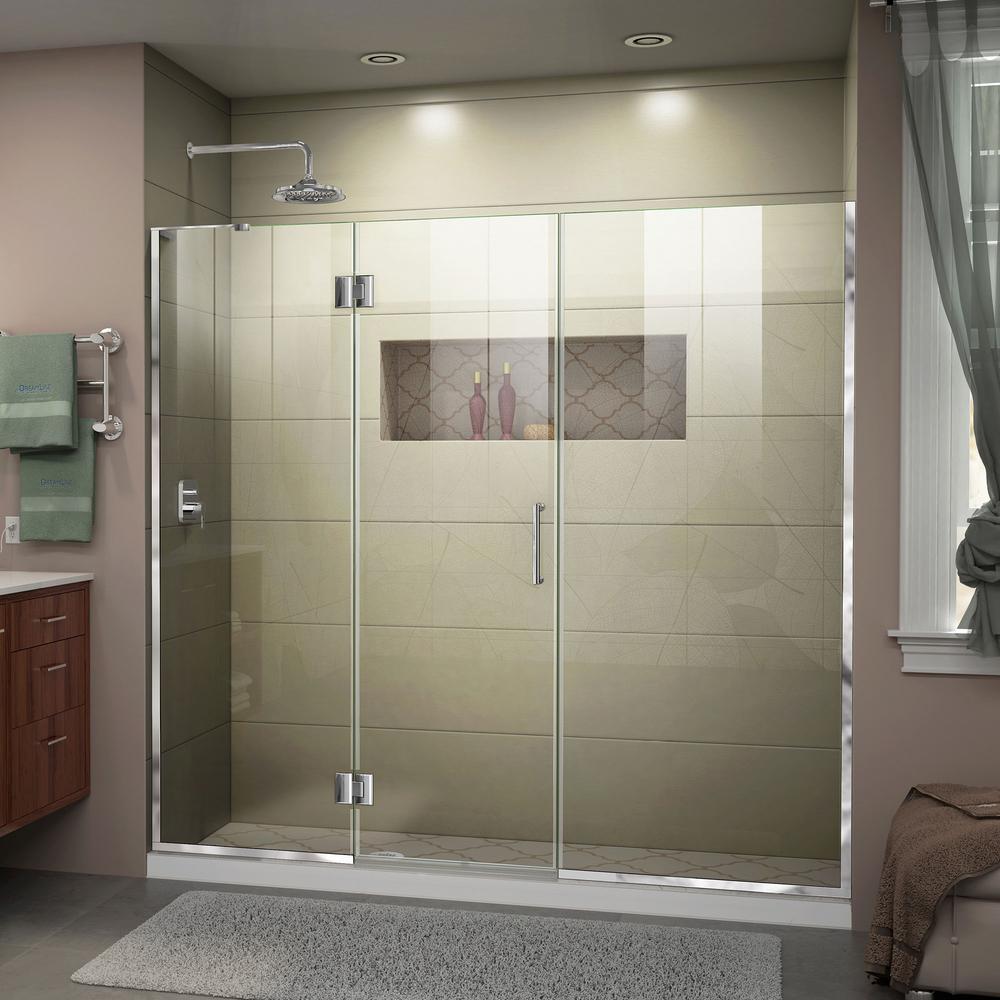 Dreamline Unidoor X 66 To 66 5 In X 72 In Frameless Hinged Shower Door In Chrome D3281472l 01 The Home Depot