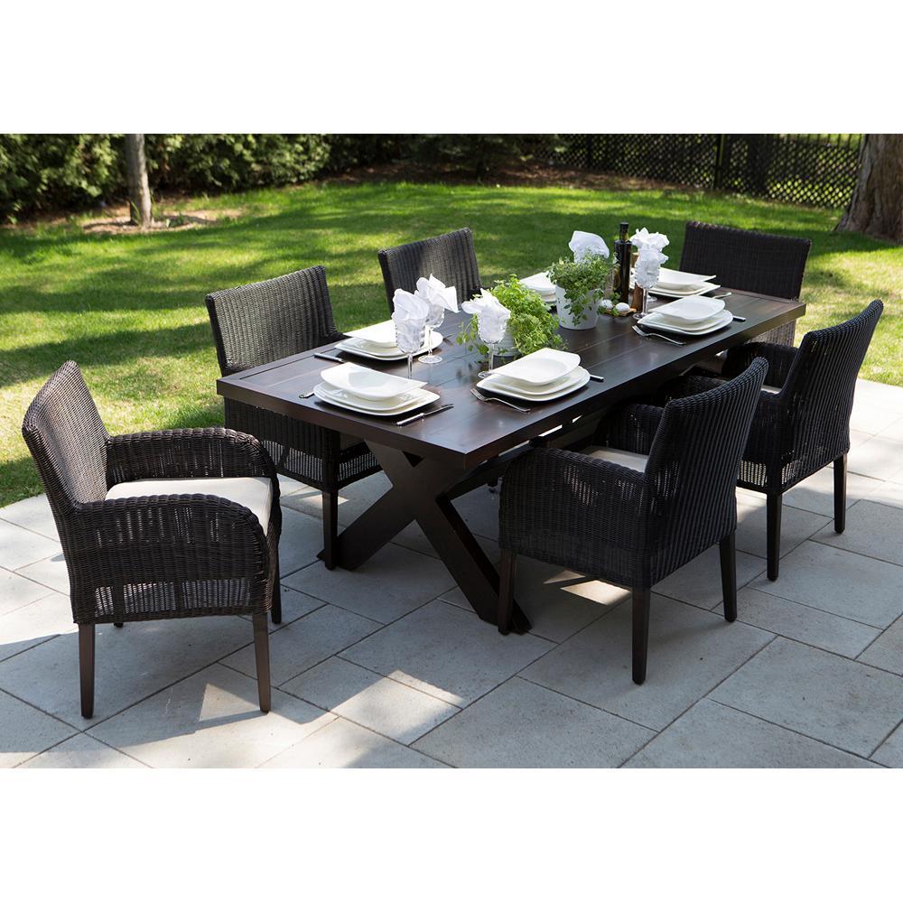 Sensational Ove Decors Majorca Dark Brown 7 Piece Aluminum Rectangular Outdoor Dining Set With Beige Cushions Pabps2019 Chair Design Images Pabps2019Com