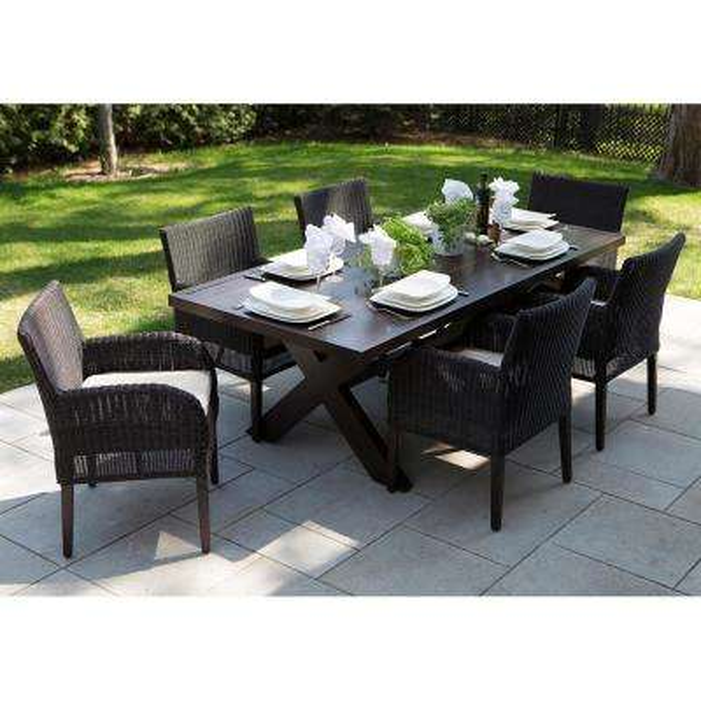 Majorca Dark Brown 7-Piece Aluminum Rectangular Outdoor Dining Set with Beige Cushions