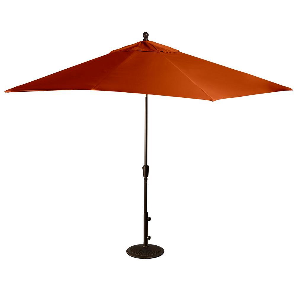 Caspian 8 ft. x 10 ft. Rectangular Market Push-Button Tilt Patio Umbrella in Terra Cotta Olefin