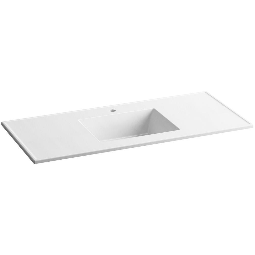 Ceramic Impressions 49 in. Vanity Top with Basin in White Impressions