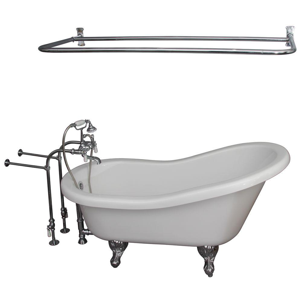 5 ft. Acrylic Ball and Claw Feet Slipper Tub in White