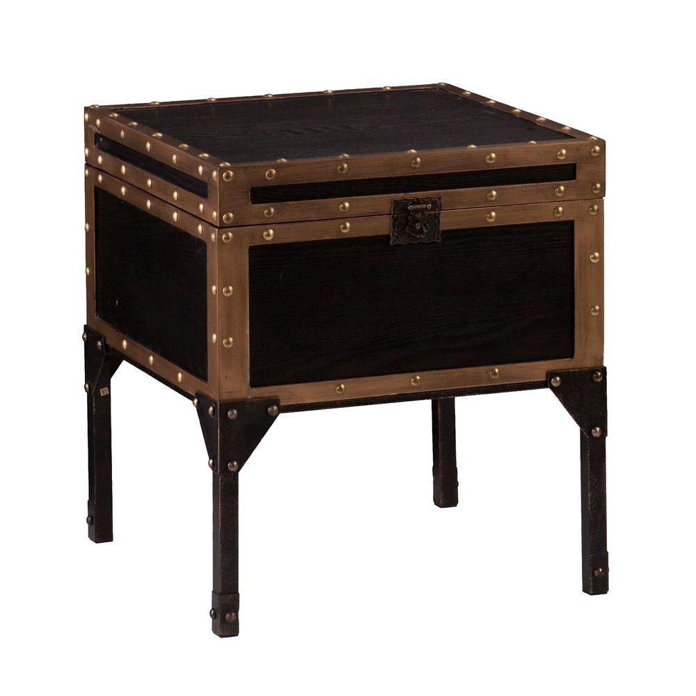 Southern Enterprises Emma Antique Black Trunk End Table