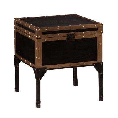 Emma Antique Black Trunk End Table
