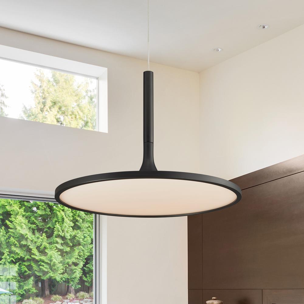 Salm Collection 35-Watt Black Integrated LED Adjustable Hanging Modern Disc Chandelier 17 in.