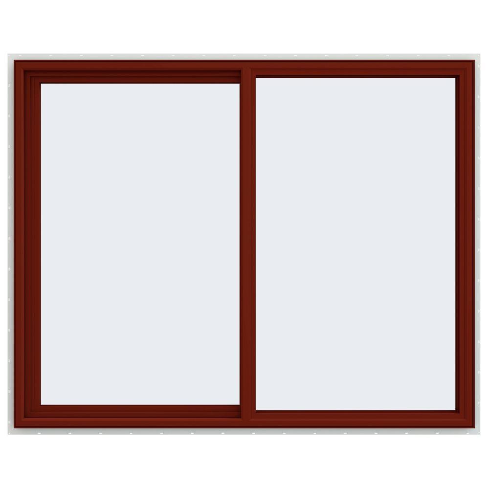 JELD-WEN 59.5 in. x 47.5 in. V-4500 Series Left-Hand Sliding Vinyl Window - Red
