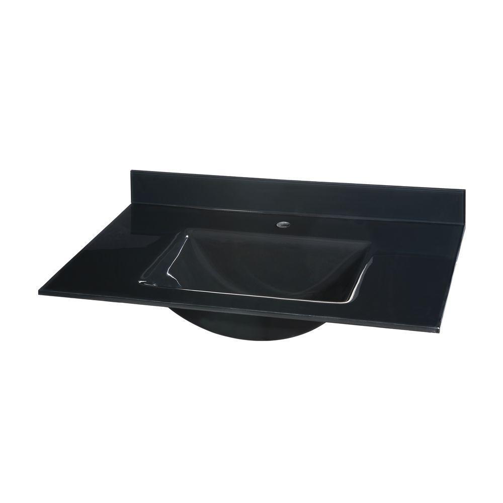 25 in. Glass Vanity Top in Black with Black Integral Basin