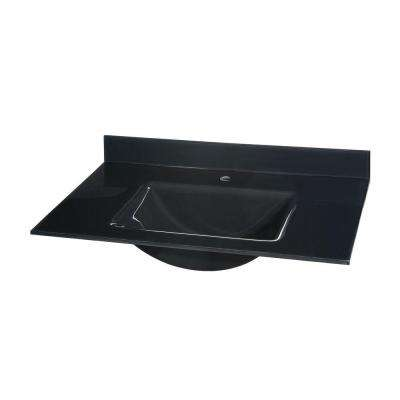 25 in. Glass Vanity Top in Black with Black Integral Basin
