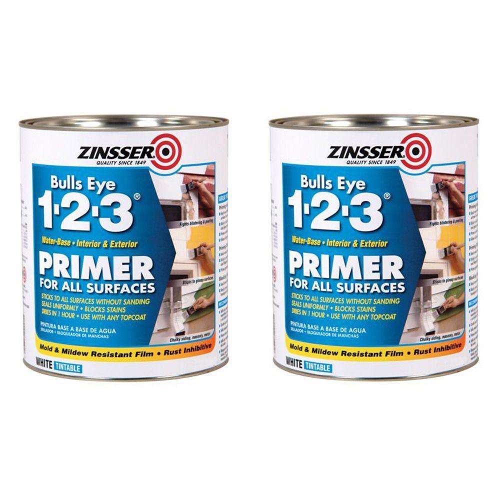 Zinsser Bulls Eye 1-2-3 1 Qt. Water-Based White Primer/Sealer (2-pack)-DISCONTINUED