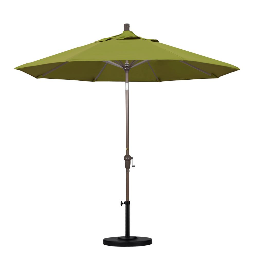 9 ft. Aluminum Auto Tilt Patio Umbrella in Ginkgo Pacifica