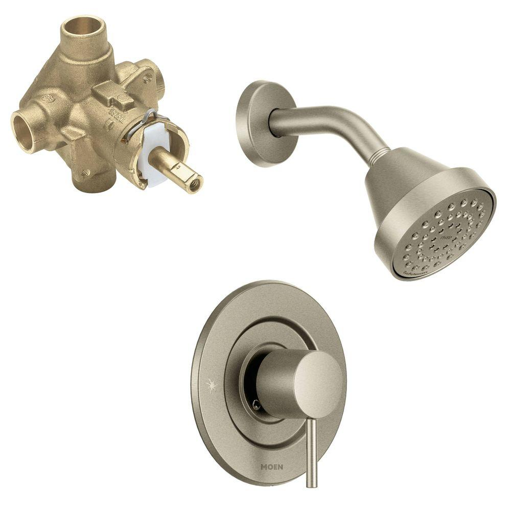 Moen Align Single Handle 1 Spray Positemp Shower Faucet Trim Kit With Valve In Brushed Nickel