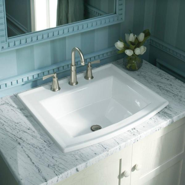 Kohler Archer Drop In Vitreous China Bathroom Sink In White With Overflow Drain K 2356 8 0 The Home Depot