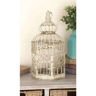 21 in. and 18 in. Distressed White Hexagonal Metal Birdcage (Set of 2)