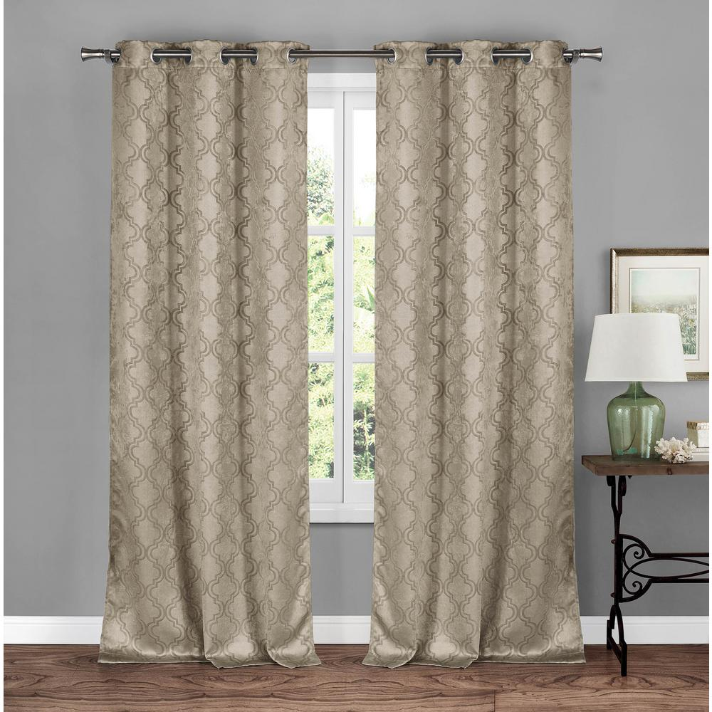 BLACKOUT 365 Brylee Taupe Blackout Grommet Panel Pair - 38 in. W x 84 in. L in (2-Piece)