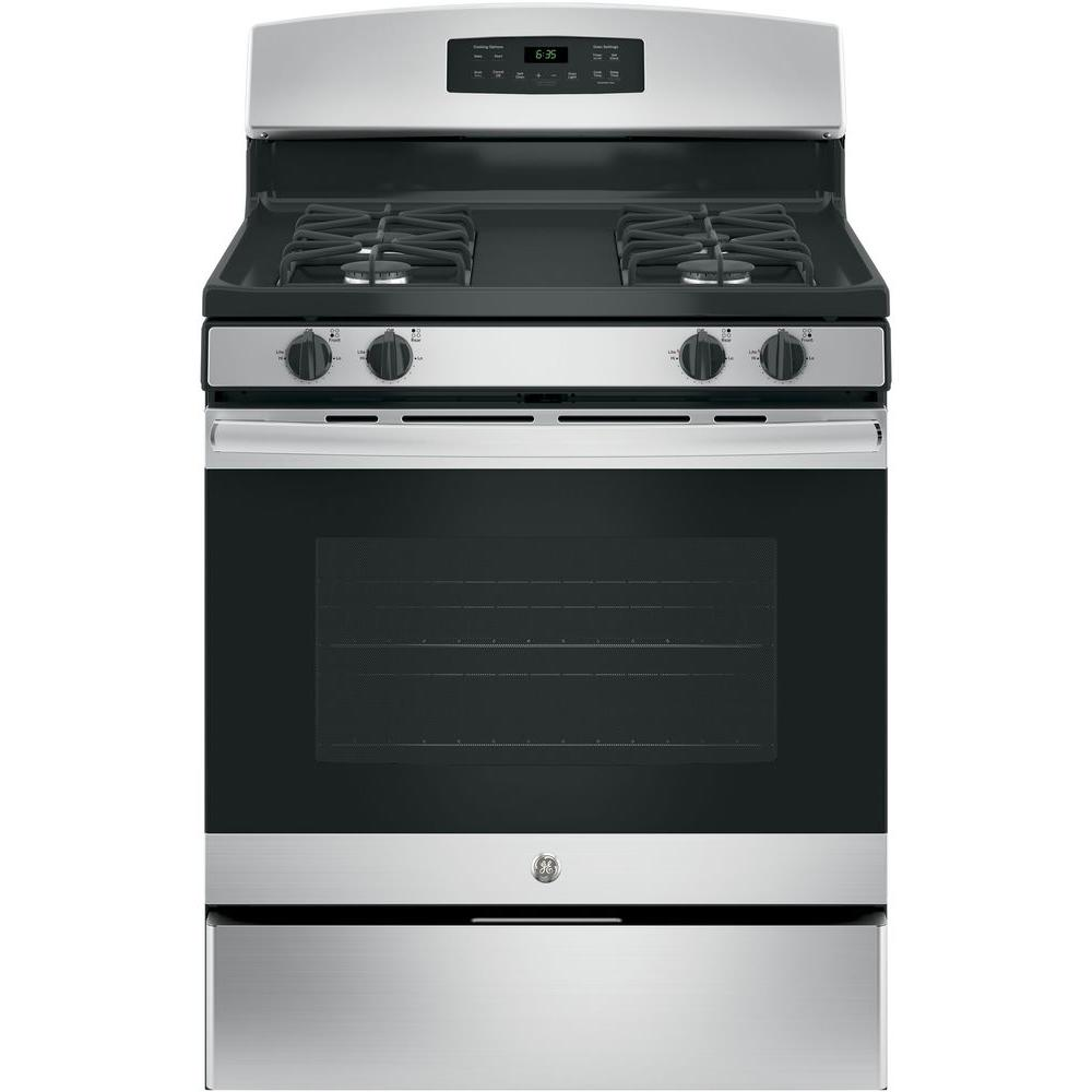 Ge 30 In 5 0 Cu Ft Free Standing Gas Range With Self