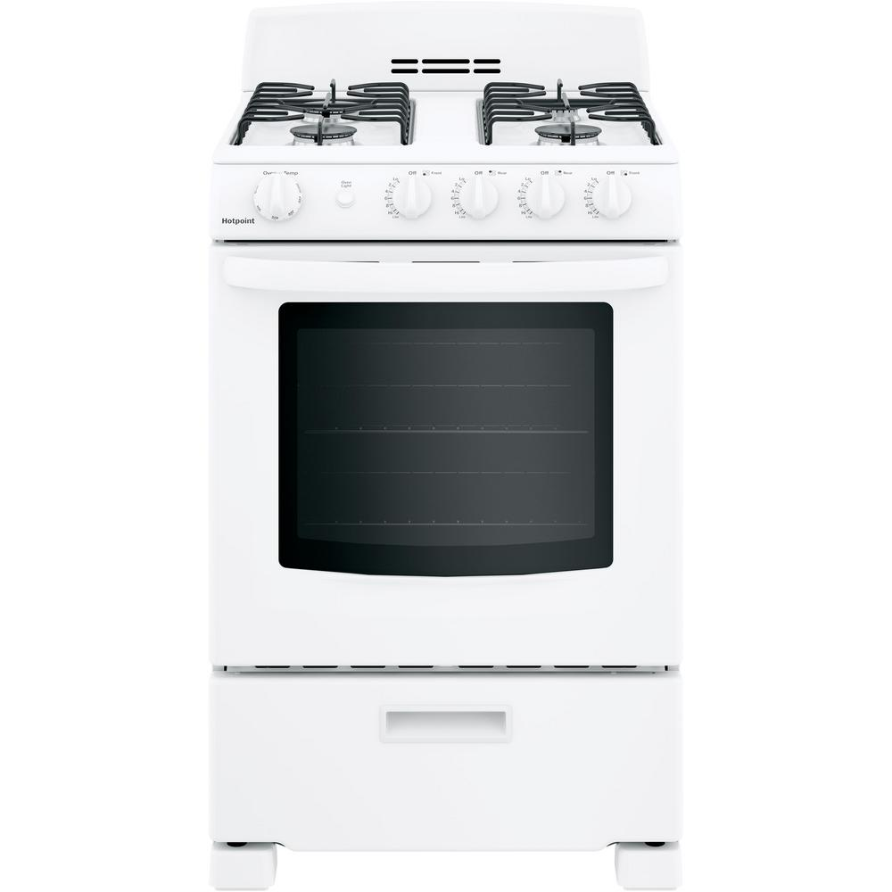 Hotpoint 24 in. 2.9 cu. ft. Gas Range Oven in White GE appliances provide up-to-date technology and exceptional quality to simplify the way you live. With a timeless appearance, this family of appliances is ideal for your family. And, coming from one of the most trusted names in America, you know that this entire selection of appliances is as advanced as it is practical. Color: White.