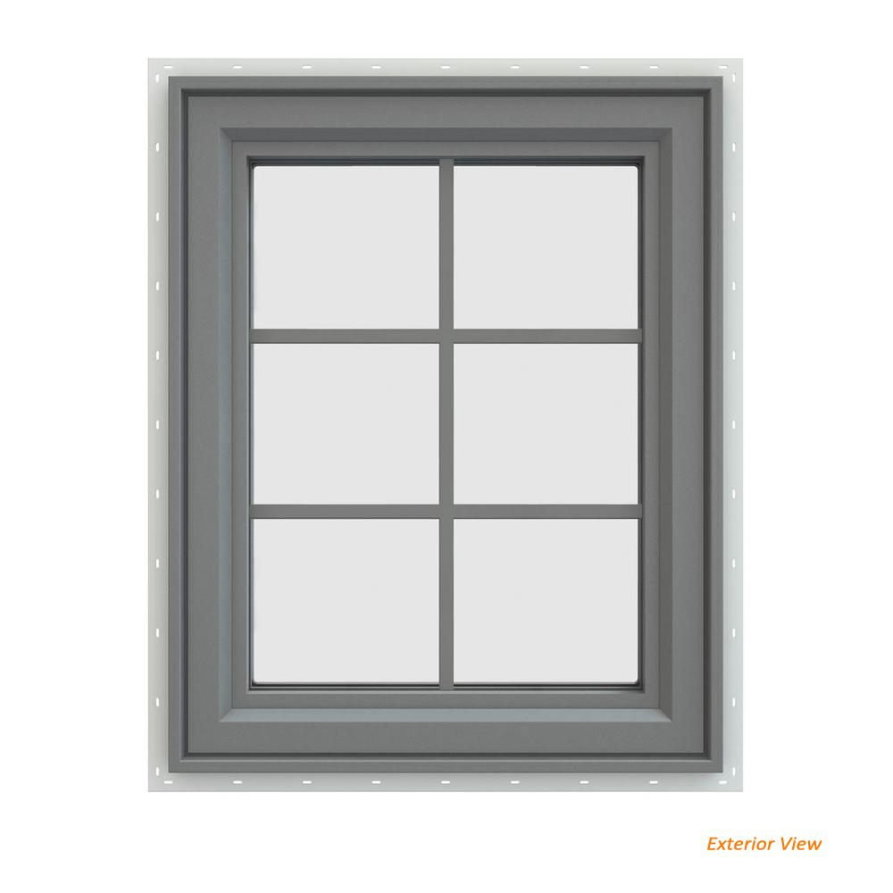 23.5 in. x 35.5 in. V-4500 Series Gray Painted Vinyl Right-Handed