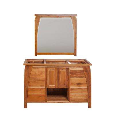 Tranquility 48 in. L Natural Teak Vanity Only With 36 in. L x 35 in. H Mirror