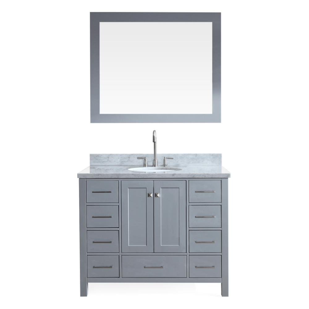 Ariel Cambridge 43 in. Bath Vanity in Grey with Marble Vanity Top in Carrara White with White Basin and Mirror