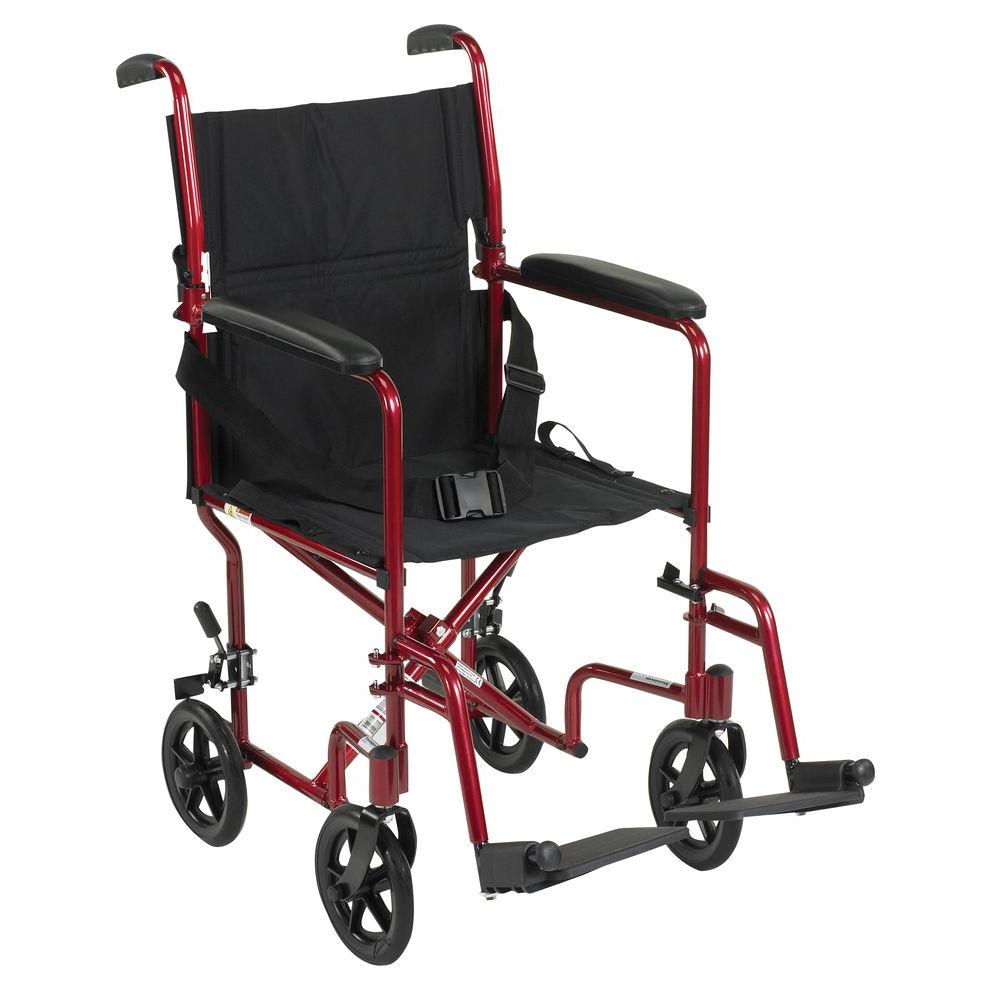 Drive Lightweight Transport Wheelchair In Red Atc19 Rd The Home Depot