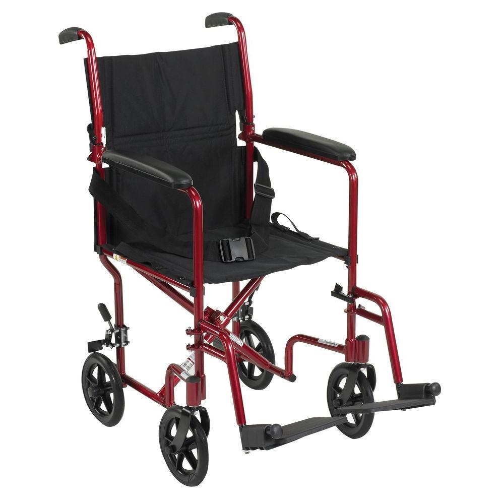Lightweight Transport Wheelchair in Red