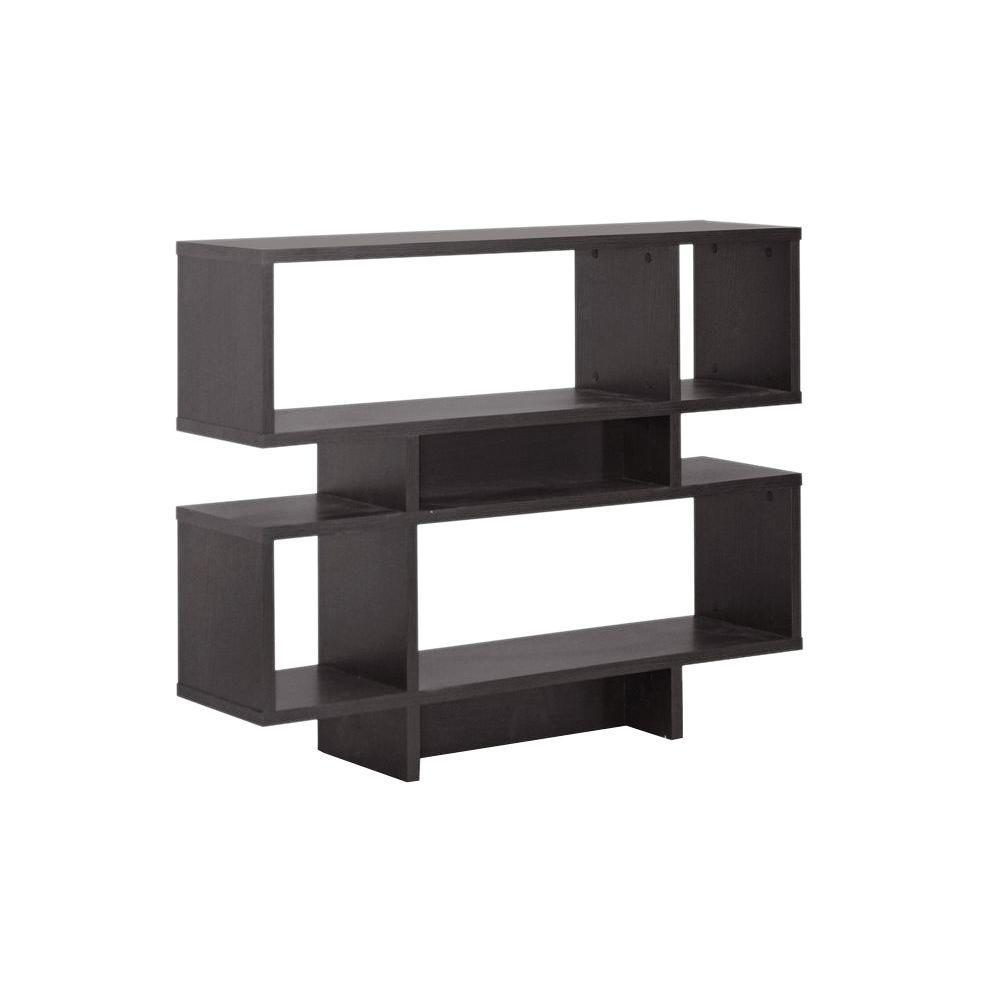 Cassidy Dark Brown Wood 2-Tier Open Shelf