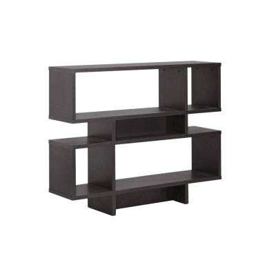 Cassidy Dark Brown Wood 2-Tier Open Shelf