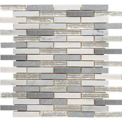 Ocean Crest Brick 12 in. x 12 in. x 8mm Glass Metal Stone Mesh-Mounted Mosaic Wall Tile (10 sq. ft. / case)