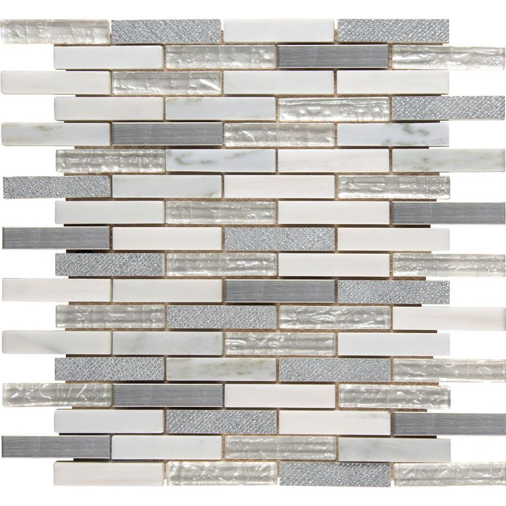 MSI Ocean Crest Brick 12 in. x 12 in. x 8 mm Glass Metal Stone Mesh-Mounted Mosaic Tile