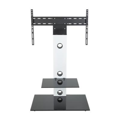 Lesina 28 in. White Glass Pedestal TV Stand Fits TVs Up to 65 in. with Flat Screen Mount