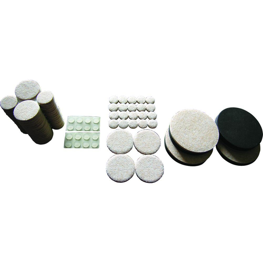 Everbilt Assorted Felt Pads, Felt Sliders and Bumpers Value Pack (108-Piece), Beige Choose this 108-piece value pack to protect your floors against scratches and dents with Assorted sizes of Shepherd heavy-duty self-adhesive felt pads. The Shepherd 3-1/2 in. felt sliders quickly and easily slide furniture across hard surface floors. Use, then remove and store until needed again. The large size sliders are made with premium quality felt backed by durable foam for repeated use on hard surface floors. The clear self-adhesive bumpers are great for protecting surfaces and deadening sound on small appliances, home and office accessories, cabinet doors, and decorative items. Color: Beige.