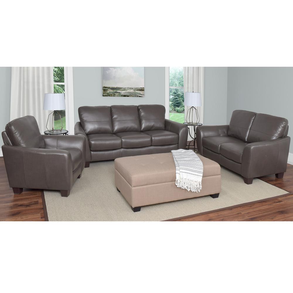 Jazz 3-Piece Brownish-Grey Bonded Leather Sofa Set