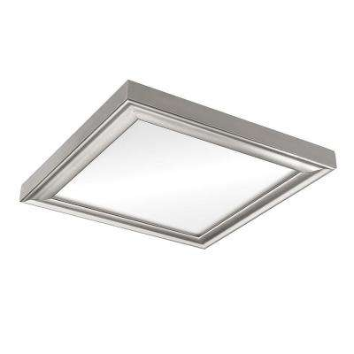 13 in. x 13 in. Color Preference 80-Watt Brushed Nickel Integrated LED Low Profile Flush Mount Ceiling Light