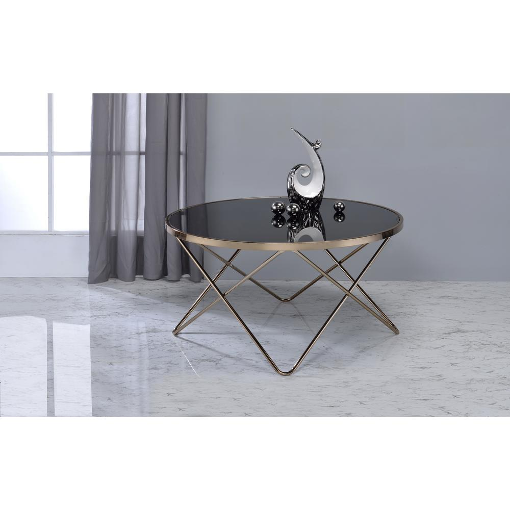 acme furniture valora black glass and champagne coffee table 81830