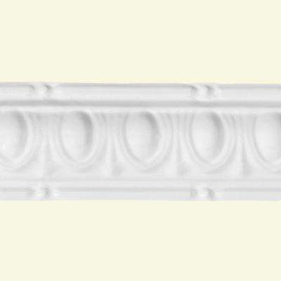 48 in. Huron Tin Crown Molding in Gloss White