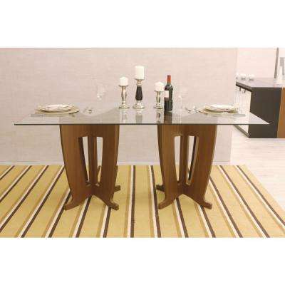 Nut Brown Sleek Tempered Gl Table Top