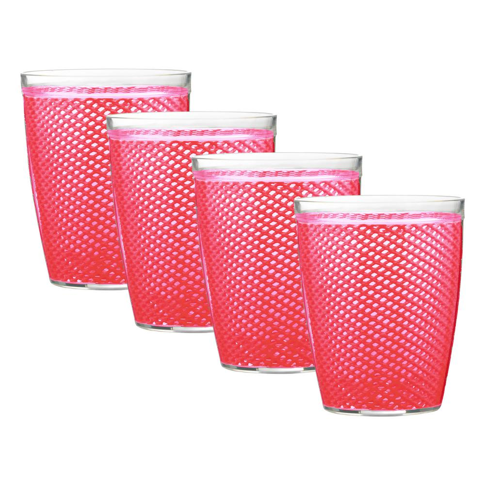 Fishnet 14 oz. Pink Yarrow Insulated Drinkware (Set of 4)