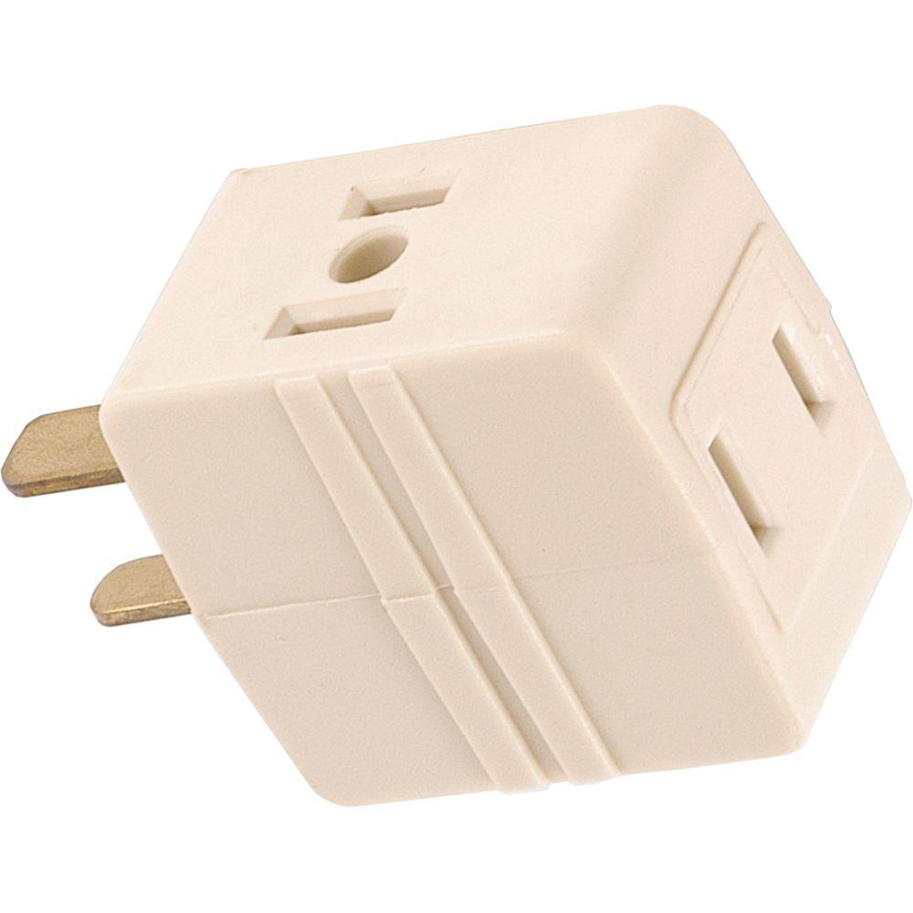 GE 3-Outlet Polarized Adapter Plug, Almond