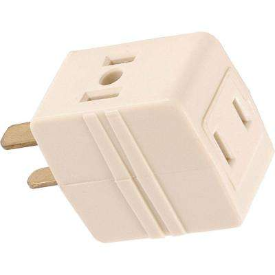 3-Outlet Polarized Adapter Plug, Almond