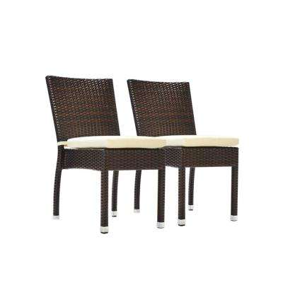 Jersey Espresso Stackable Wicker Outdoor Dining Chair With Cream White Cushions 2 Pack